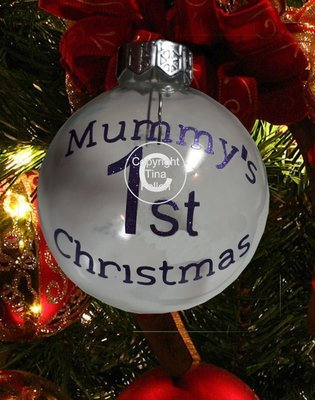 Mummy's - Christmas Bauble Ornament - with precurved text  4 sizes