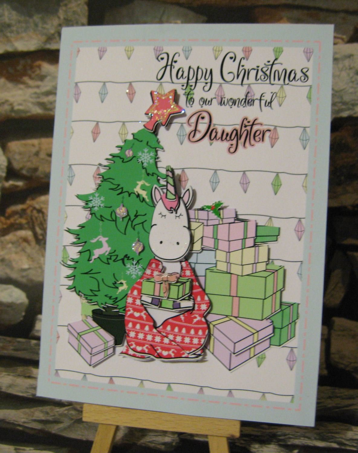 Christmas Unicorn and Tree 3d card, insert and box  studio/pdfs/jpegs and png