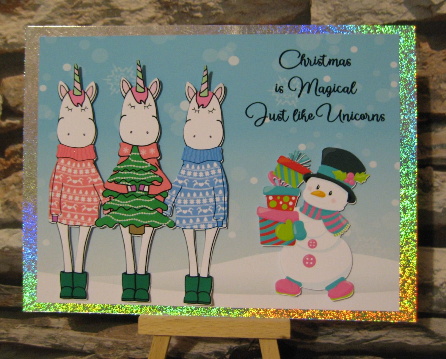 Christmas Unicorns and Snowman - very easy card topper   studio/pdfs/jpegs and png