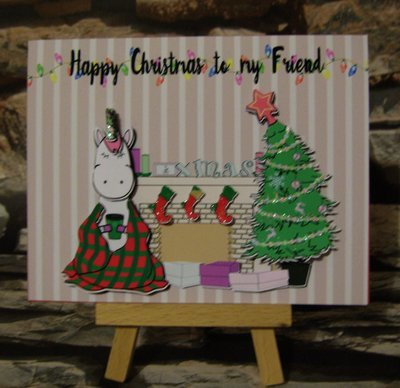 Christmas Unicorn Card To My Friend - Fireplace scene   studio/pdfs/jpegs and png