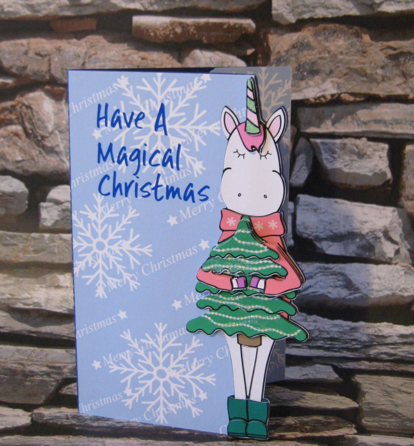 Christmas Unicorn Holding Tree with card box    studio/pdfs/jpegs and png