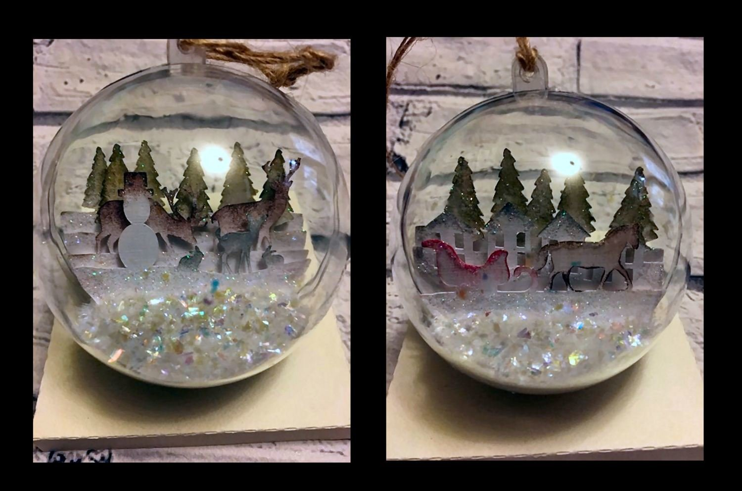 2 x Multi layered 3d scenes for inside Christmas Baubles  multi formats