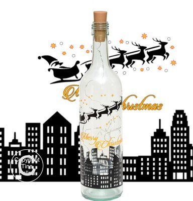 Santa skyline Christmas Wine bottle vinyl decor Commercial use see description