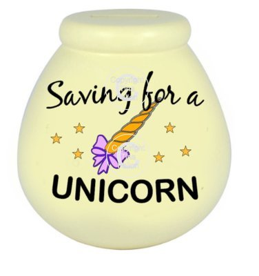 Saving For A Unicorn  - Money pot / bottle precurved text vinyl quote