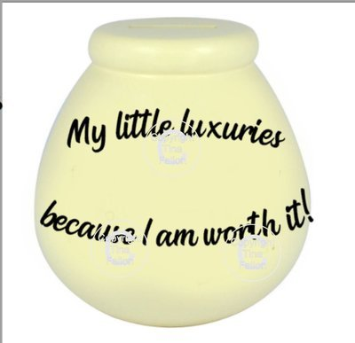 My Little Luxuries - Money pot / bottle precurved text vinyl quote