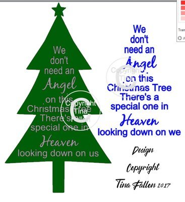 We don't need an Angel on our Christmas Tree (with tree shape) - Rememberance quote