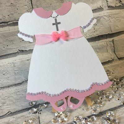 Baby Dress invitation , invite, shower, birth, christening, communion