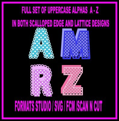 52 Alphas A - Z cutting files in scallop and lattice designs  svg studio scan n cut
