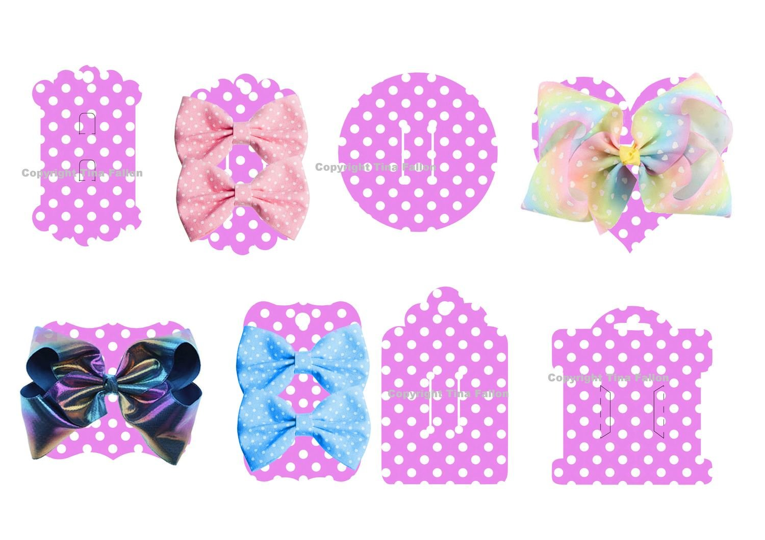Hair Bow Card Holders -  Polka Dot Pink Print n Cut