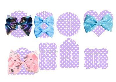 Hair Bow Card Holders -  Polka Dot Purple Print n Cut