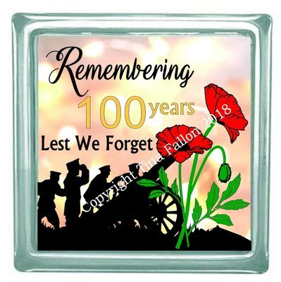 Remembrance Day , Poppy Day , Armistice Day Design for Canvas, glass blocks etc design 2