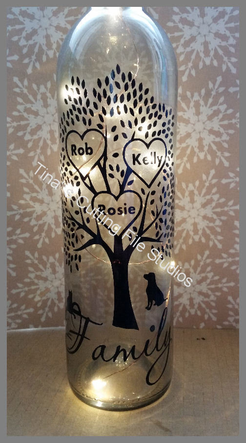 Family Tree for 3 - Wine Bottle, light block decal. Easy Weed -Read description