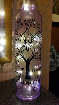 Family Tree for 5 - Wine Bottle, light block decal. Easy Weed -Read description.