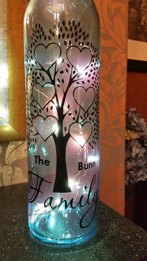Family Tree for 6 - Wine Bottle, light block decal. Easy Weed-Read description