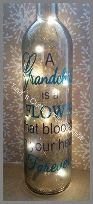 A Grandchild - Wine Bottle, light block decal. Easy Weed-Read description