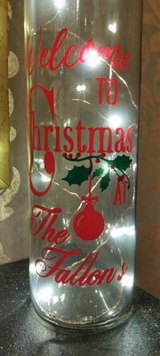 Welcome To Christmas At The  ********   Wine Bottle, light block decal. Easy Weed-Read description