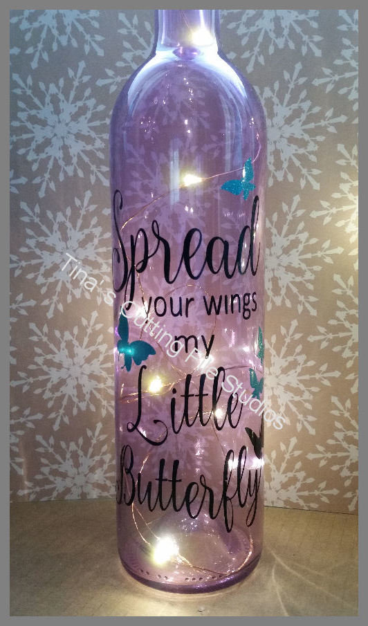 Spread Your Wings Butterfly - Wine Bottle, light block decal. Easy Weed-Read description
