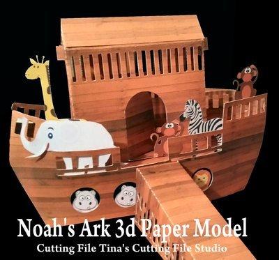 Noah's Ark 3d Papercraft Model  SVG/STUDIO and FCM