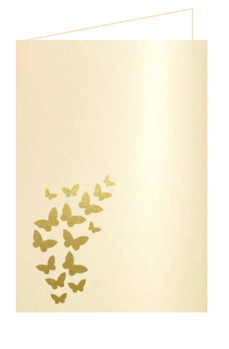 """Butterfly Card 7 x 5"""" for Order of Service and Menu holders , this compliments the Wedding Butterfly Pocket Invitation"""