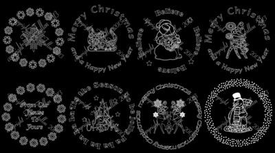Special Offer Set B - Vinyl designs for Christmas charger plates 9 - 16
