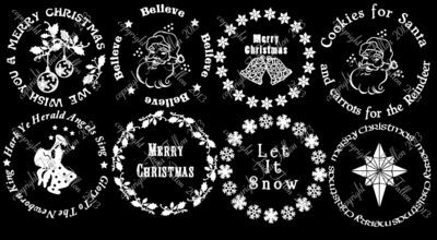 Special Offer Set A - Vinyl designs for Christmas charger plates 1 - 8