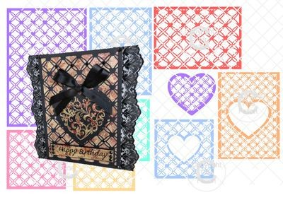 Set of 9 Entwined Hearts trellis frame die cut or emboss / engrave  25% OFF