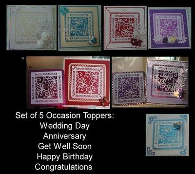 Set of 5 Occasion Toppers for Anniversary,Wedding,Birthday, Congratulations and Get Well Soon Special Offer