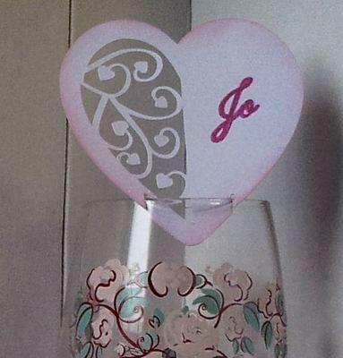 Heart Swirls Wine glass placename card