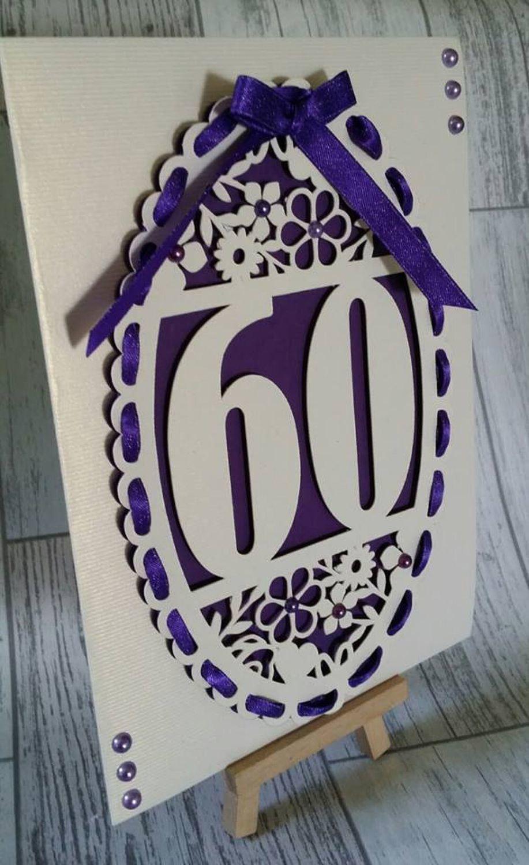 60th Birthday oval card topper - studio