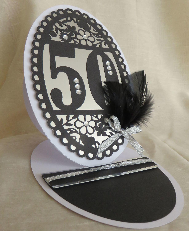 50th Birthday oval card topper - studio