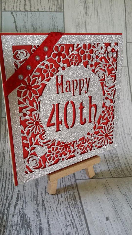 40th Birthday floral square card - studio