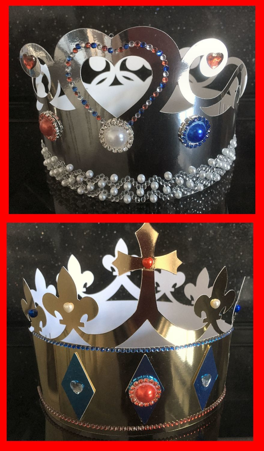 Crowns x 2  for girls and boys  - royal, party, jubilee, birthday, king