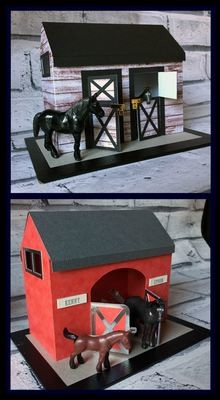 2 Horse Stables - cut only or print n cut options - Studio format file