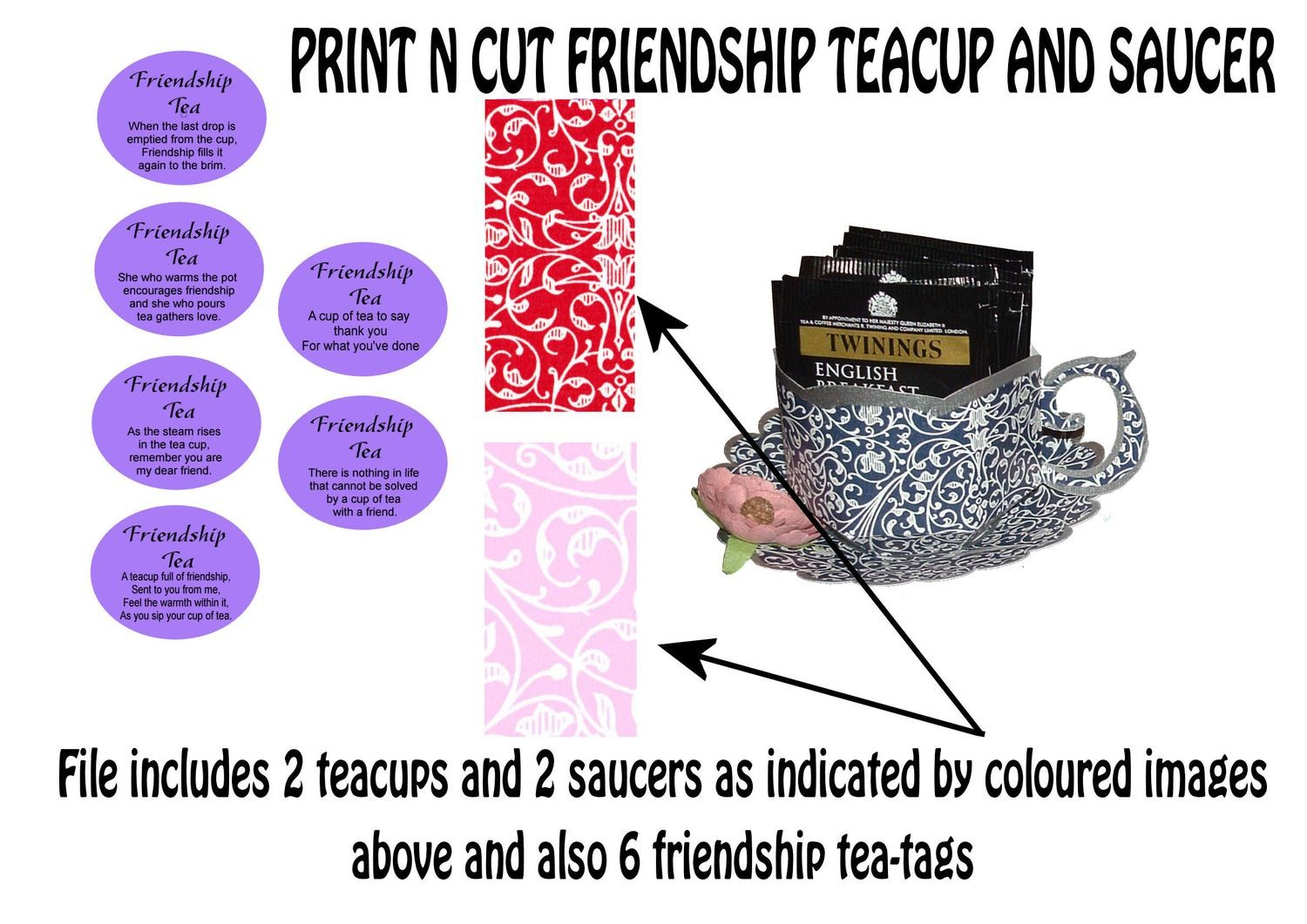 Friendship Cup and Saucer Set    Print N Cut Colour codes 1 and 6