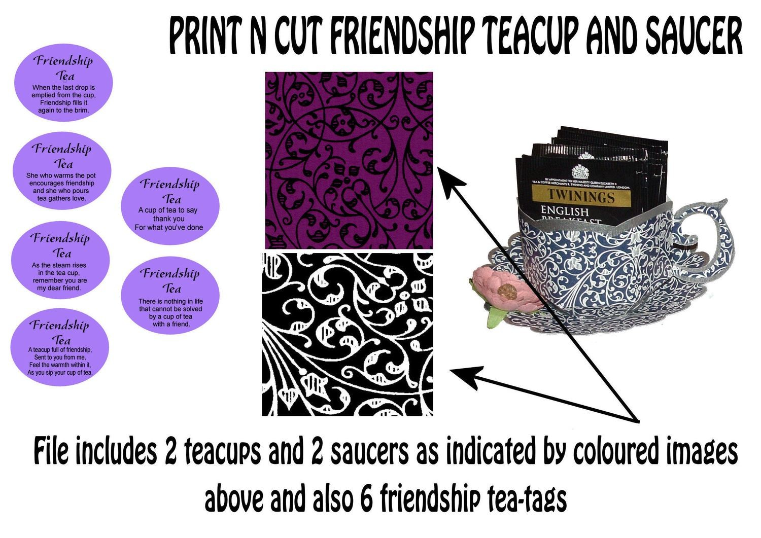 Friendship Cup and Saucer Set    Print N Cut Colour codes 11 and 24