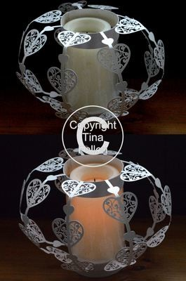 Filigree Hearts Luminaire   Great table centrepiece for Weddings and Parties.