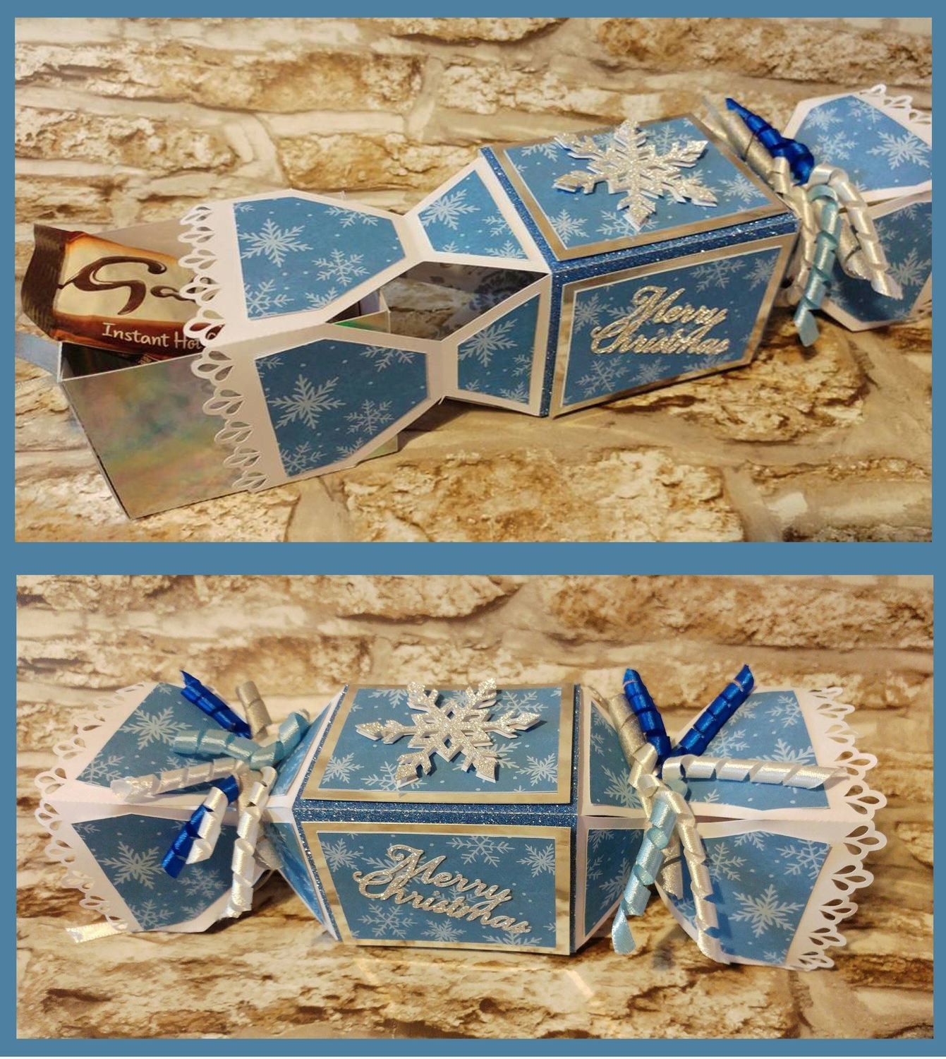 Cracker with a hidden inner box - Snowflake themed  SVG