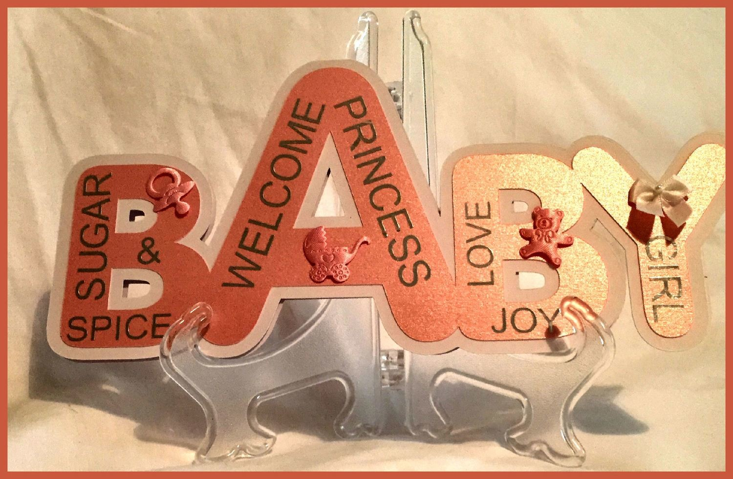 Baby Girl - Layered Word Shaped Card with box FCM format
