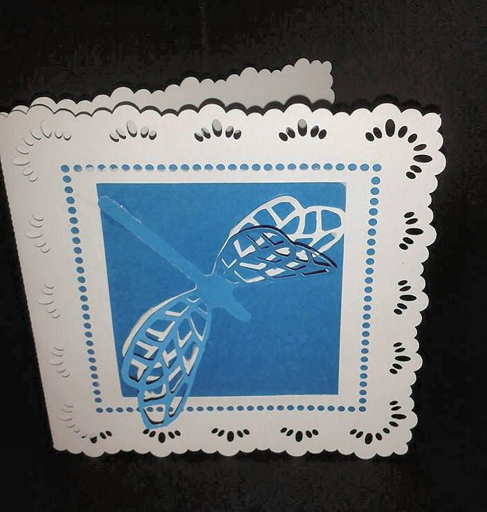 Dragonfly Square Card with extra dragonfly