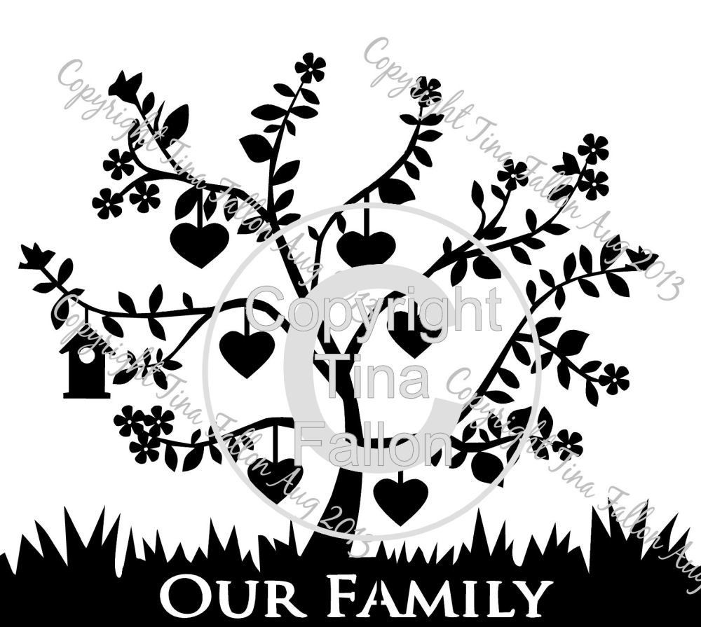 Family Tree for 6  can be personalised with names and dates