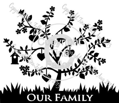 Family Tree for 5  can be personalised with names and dates