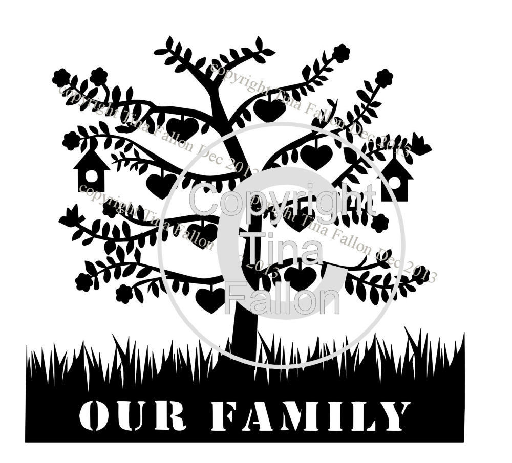 Family Tree for 8  can be personalised with names and dates
