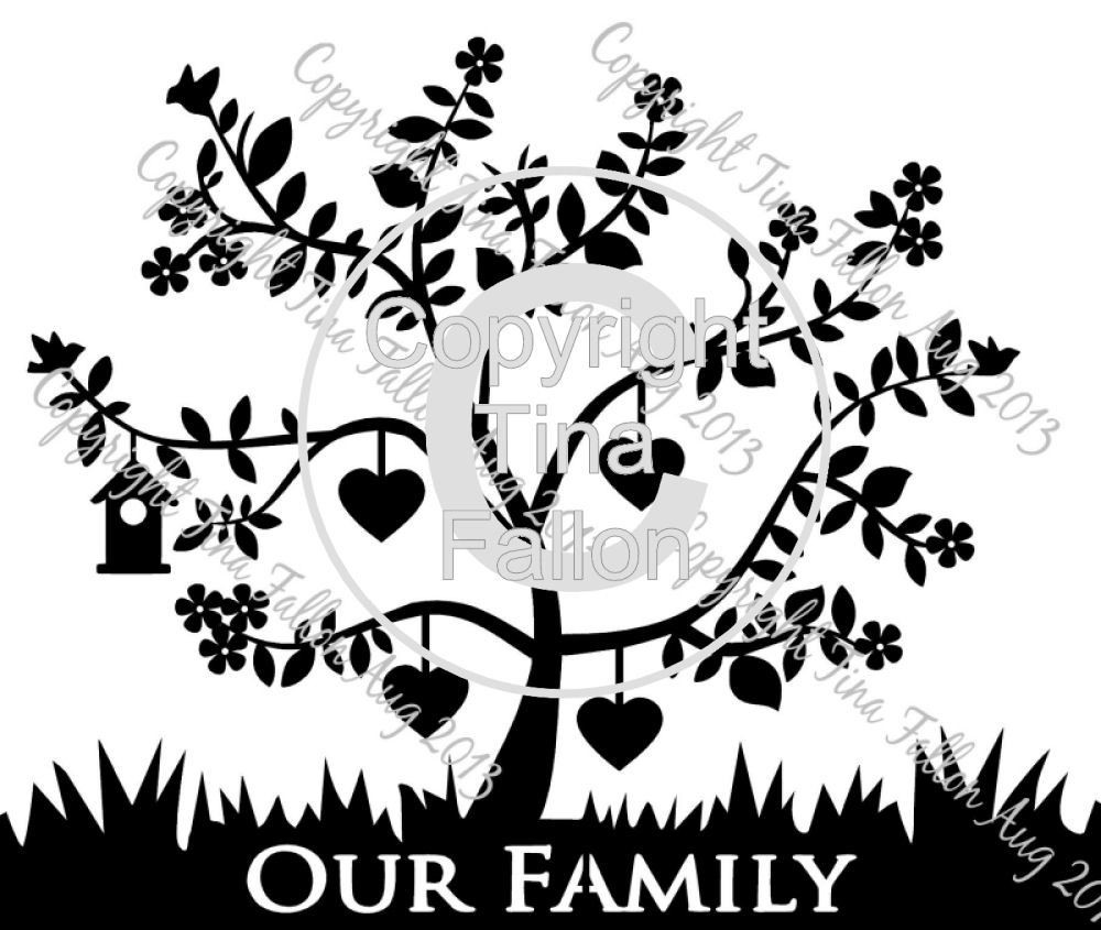 Family Tree for 4  can be personalised with names and dates