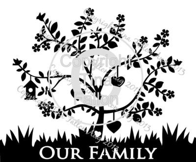 Family Tree for 3  can be personalised with names and dates