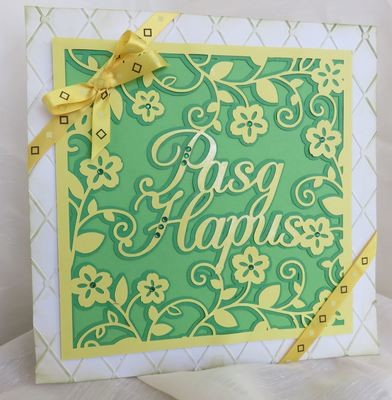Pasg Hapus Happy Easter  - Welsh / Wales card topper 3 layers