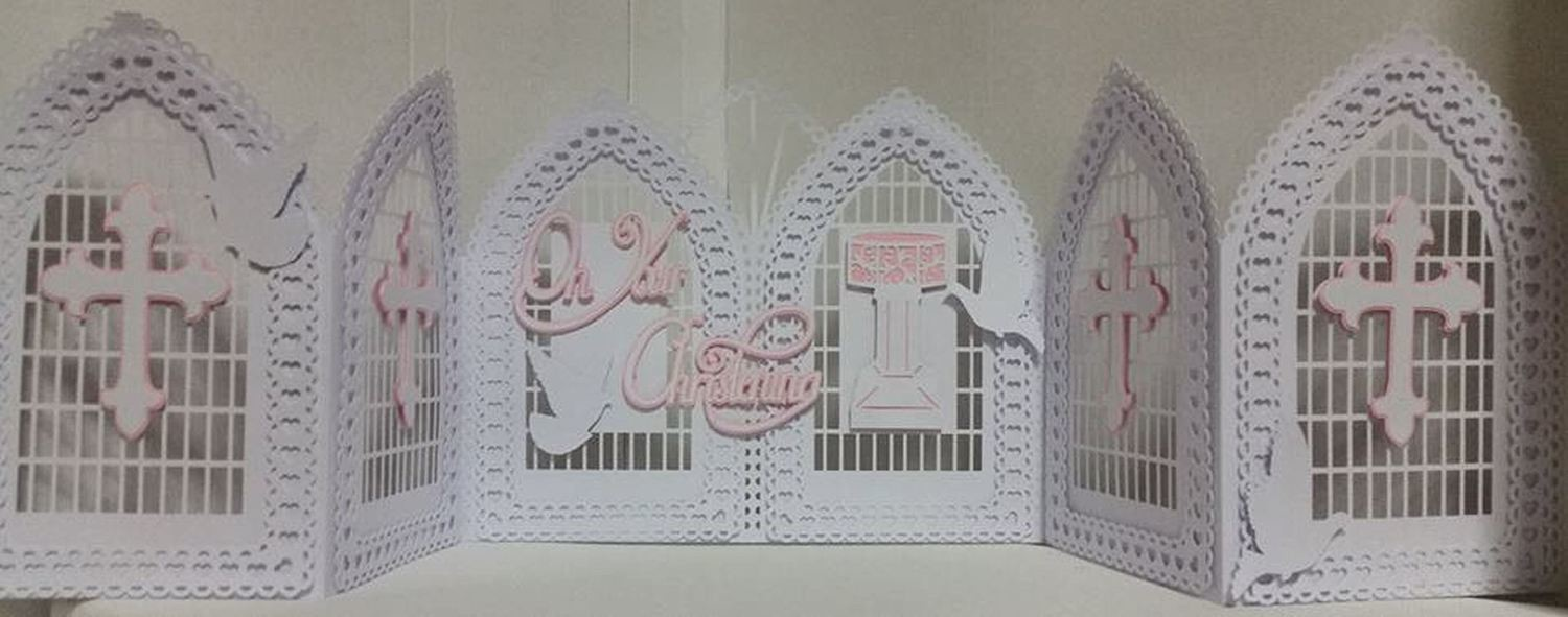Christening, Baptism, Communion, Confirmation etc Windows / Doors Tri Fold Gatefold Card template with box, doves, trellis etc
