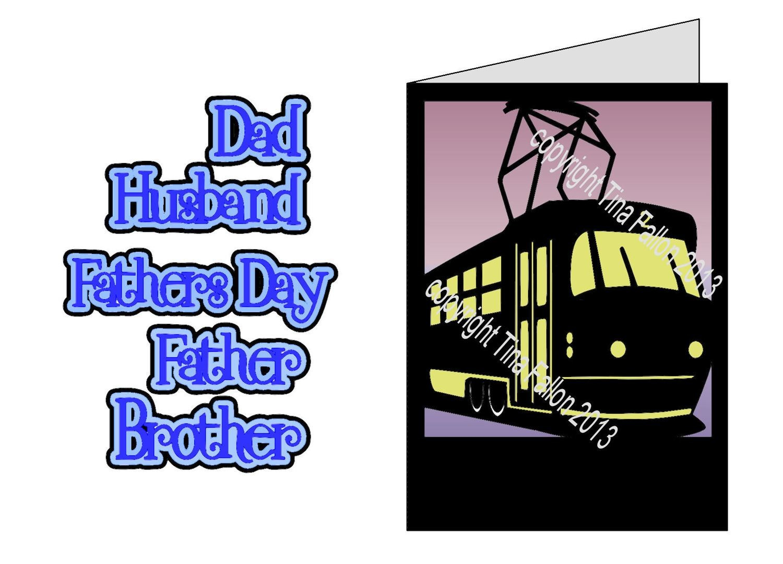 Tram silhouette card template