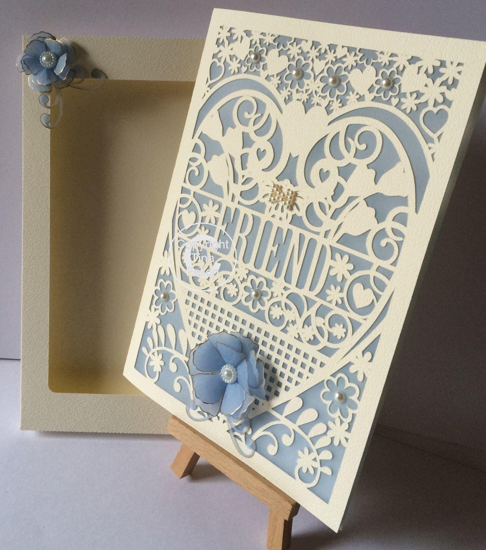 Friend Birthday Card (with box)  beautiful cutout design svg