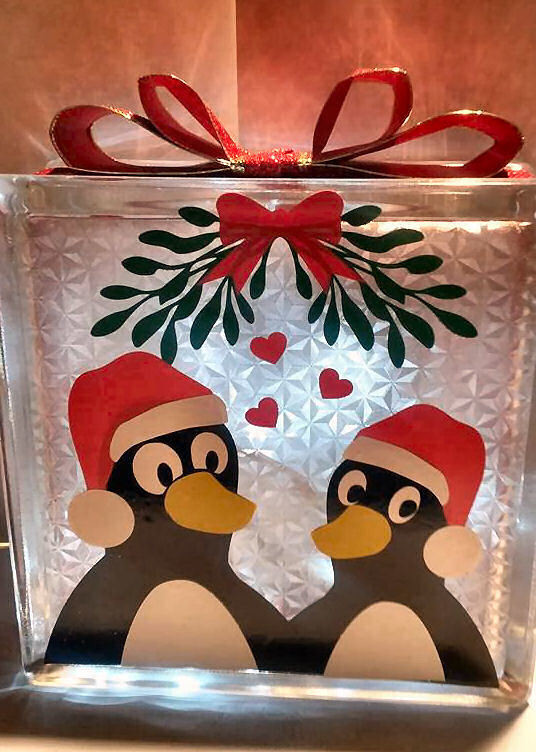 Christmas Penguins looking for love  Glass Block Tile Design