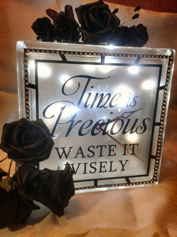 Time is Precious Clock Quote Glass Block Tile Design